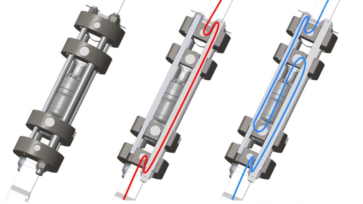 Concept of the serial linear actuator; red: force path in deactivated state, blue: force patch in activated state