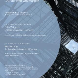 Vortragsreihe Adaptivität als Utopie im Wintersemester 2020/21
