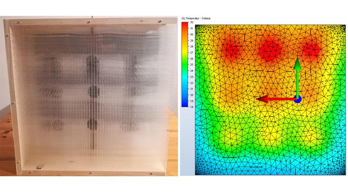 Adaptives bauphysikalisches Modell - Fassadenausschnitt mit transparenter Wärmedämmung innen und Textilmembran außen  Links: Darstellung des Modells mit geöffneten innenliegenden Ventilen; Rechts: Thermografieaufnahme - Temperaturverteilung an der Innenoberfläche des Modells (c) IABP