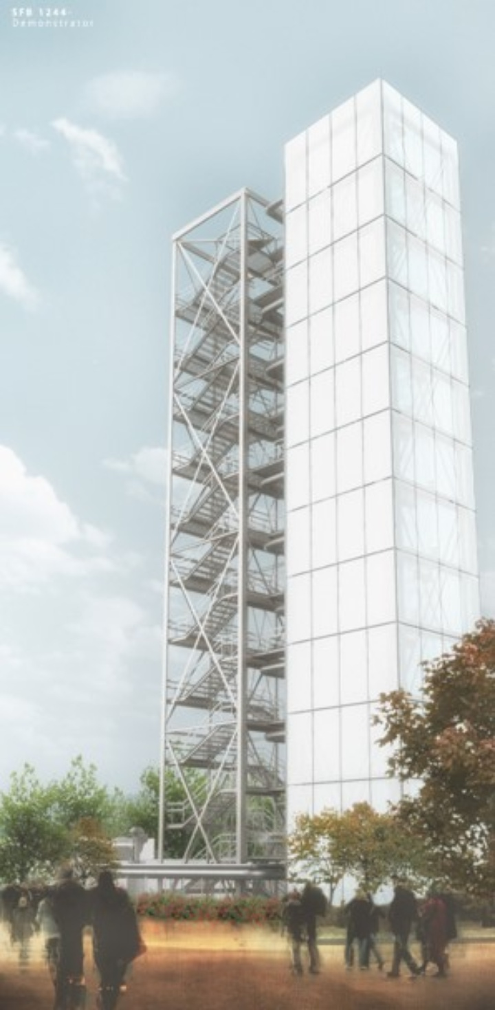 Visualization of the demonstrator with staircase tower  (c) Source: ILEK  ©