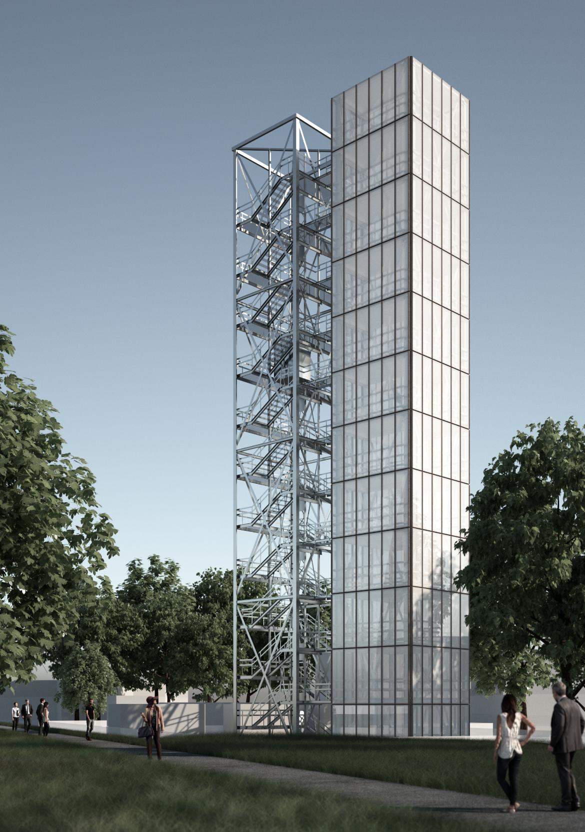 Visualisierung des Demonstrator-Hochhauses