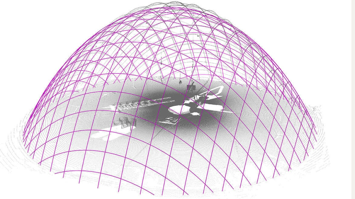 Grid shell of glass fibre Construction measurement by laser scan (grey) in comparison to the ideal shape (magenta) (c) ILEK