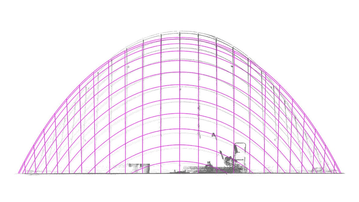 Laserscan grid shell - ideal state of construction  (c) ILEK