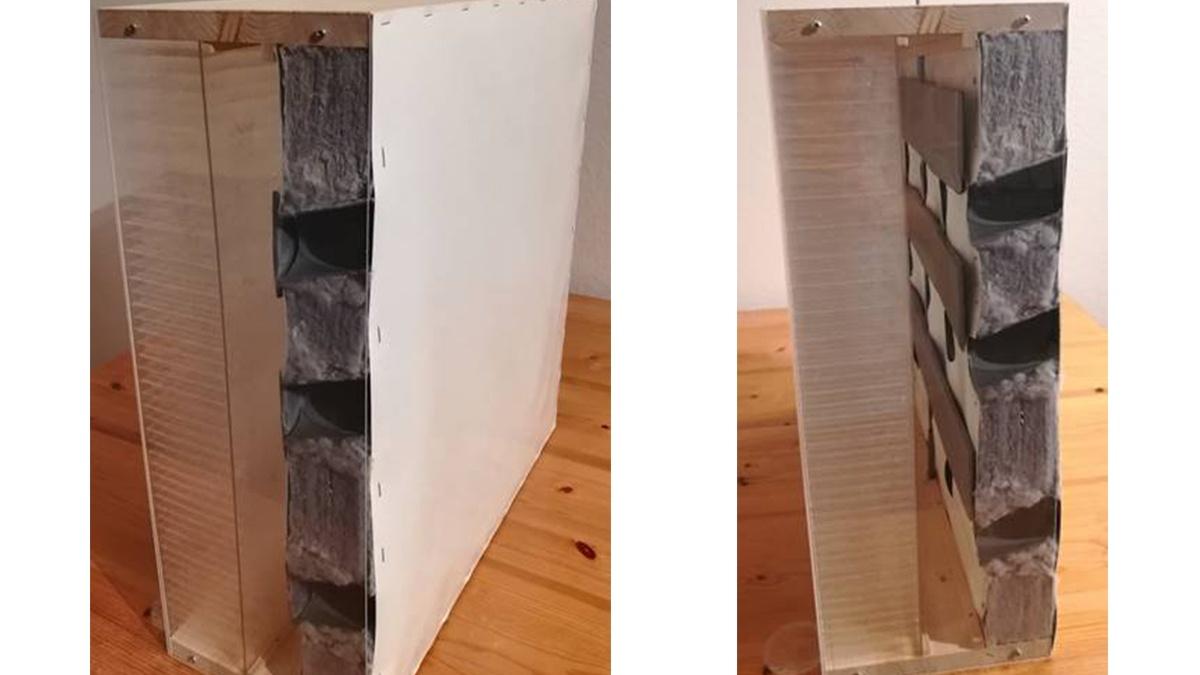 Adaptives bauphysikalisches Modell - Querschnitt Links: Innenliegende Ventile im geschlossenen Zustand; Rechts: Ventile im geöffneten Zustand. (c) IABP