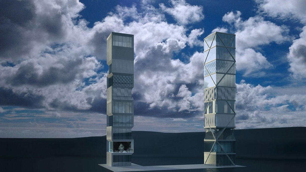 Visualization of two designs of the planned demonstrator high-rise in its final construction  (c) ILEK